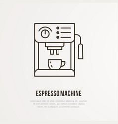 Coffee espresso machine flat line icon vector