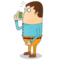 Man using inhaler vector