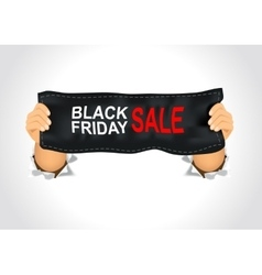 Man holding a black friday sale banner vector