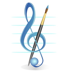 Brush and treble clef vector