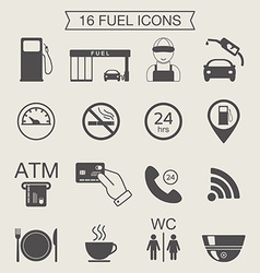 Gas station icons fuel icons monochrome vector