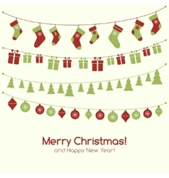 Christmas greeting card with garlands vector