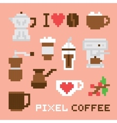 Pixel art coffee isolated set vector