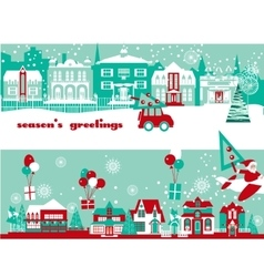 Christmas and New Year Greeting Card Template vector image