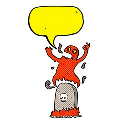 Cartoon ghost rising from grave with speech bubble vector