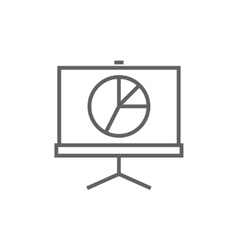 Roller screen with the pie chart line icon vector