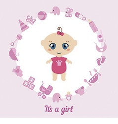 Cute baby girl card vector