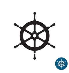 Ship helm black silhouette icon yacht boat rudder vector