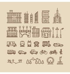 Line elements of city buildings houses trees vector