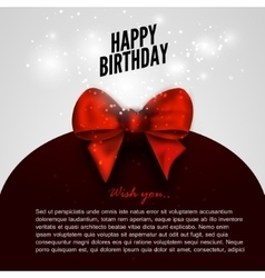 Happy birthday background with red bow design vector