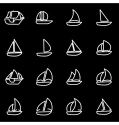 Line sailboat icon set vector