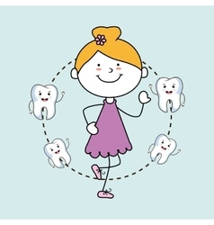 Girl with teeth isolated icon design vector