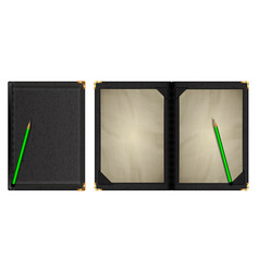 A notepad in black leather binding vector