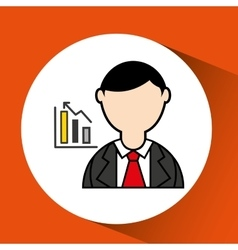 Avatar man with suit and statistics graphic vector