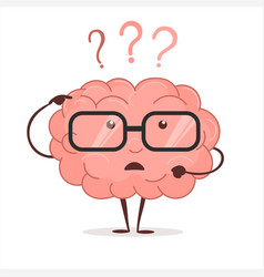 brain cartoon with questions and glasses human vector image