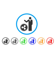 businessman show ripple coin rounded icon vector image