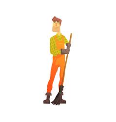 Cartoon street sweeper at work street cleaner vector