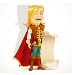 Cute blond prince with a scroll of parchment vector