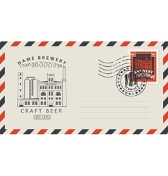 Envelope with a postage stamp for a pub vector