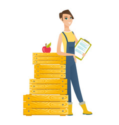 Farmer holding clipboard with documents vector