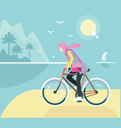 Flat bicycle girl with hijab at beach vector