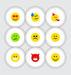 Flat icon expression set of joy displeased cross vector