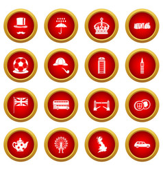 great britain icon red circle set vector image vector image