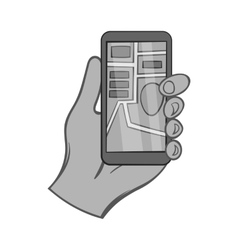 Hand holding phone with JPS icon monochrome style vector image vector image