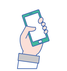 hand with smartphone technology object icon vector image vector image
