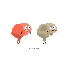 Healthy vs unhealthy brain infographic vector