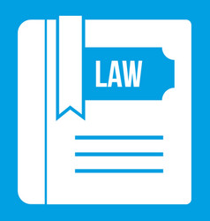 Law book icon white vector
