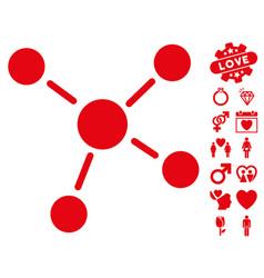 links icon with valentine bonus vector image vector image