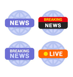 news media icons set on white background vector image vector image