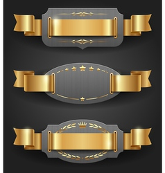 Ornate metal frames with golden decor and ribbons vector image