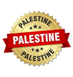 Palestine round golden badge with red ribbon vector