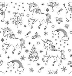 Pattern with unicornstreesbirdssnowmen vector