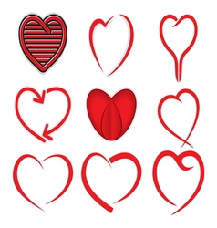 Red heart collection vector image vector image