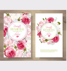 romantic flowers vertical banners vector image vector image