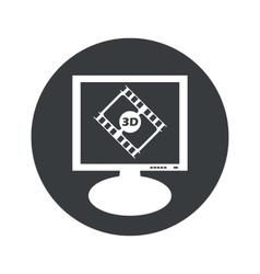 Round 3d movie monitor icon vector