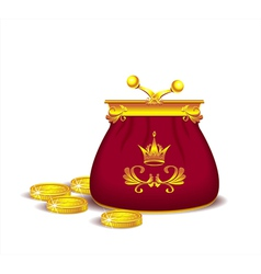 Royal purse with coins vector image vector image