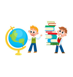 school boys studying globe carrying book pile vector image