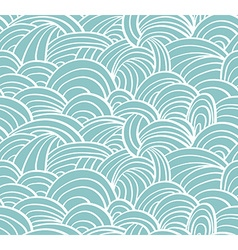 Seamless sea hand-drawn pattern waves background vector image