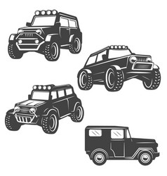 Set of off road cars icons isolated on white vector