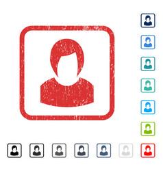 Woman profile icon rubber watermark vector