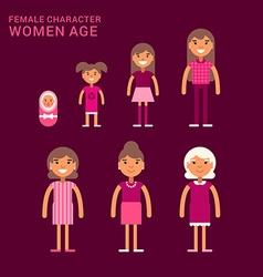 Women age life cycle different generations of vector