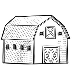 doodle barn vector image