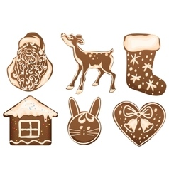 Set christmas gingerbread vector