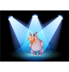 A hippopotamus standing at the stage with vector