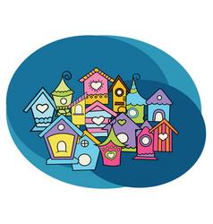 bird houses design set vector image