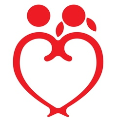 Red heart boy and girl symbol vector
